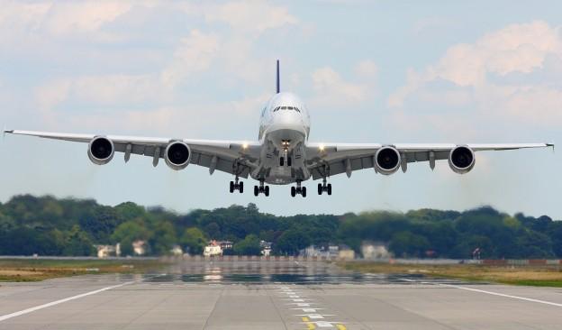 A380 in atterraggio